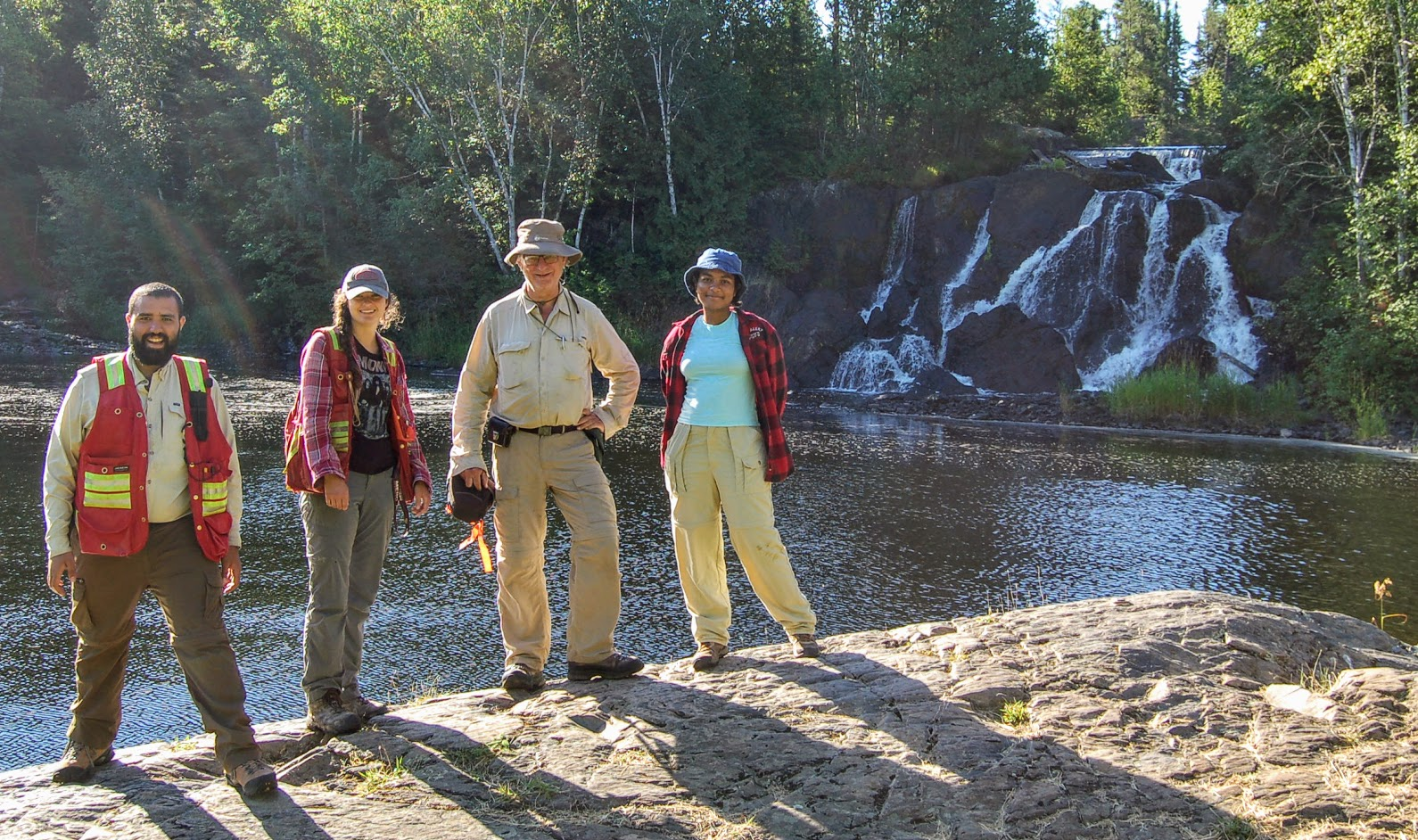Metal Earth Atikokan Transect Crew at Little Falls Scenic Lookout, August 2020