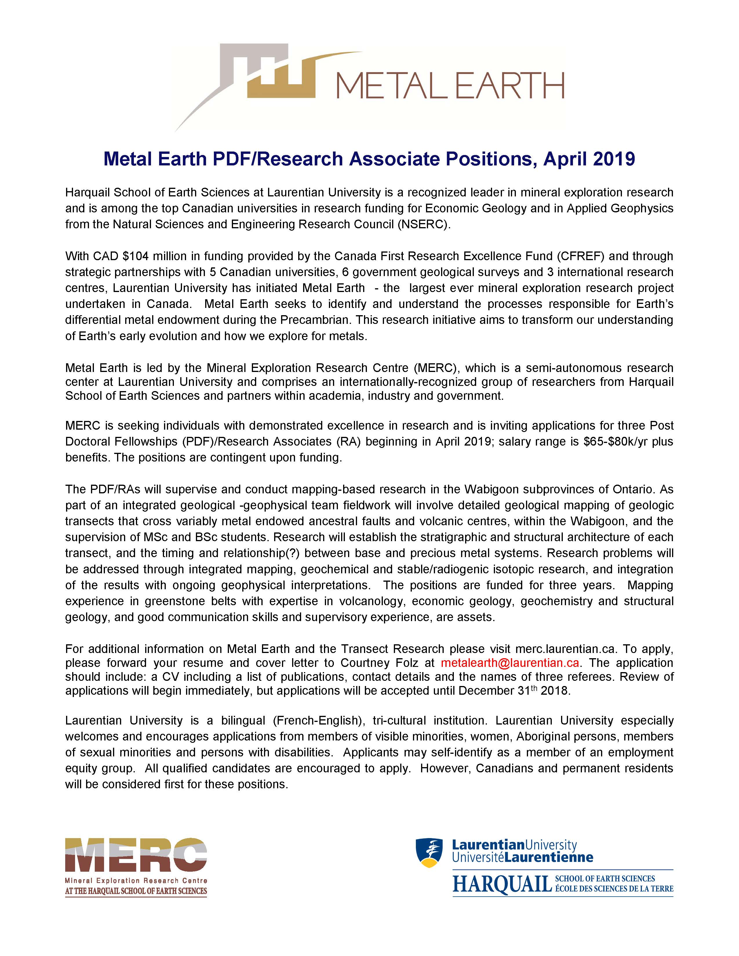 careers research opportunities harquail school of earth sciences