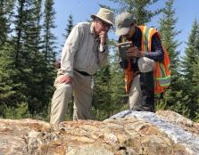 Université du Québec à Chicoutimi Professor Real Daigneault with Adrien Boucher, M.Sc. candidate, conducting fieldwork for the Metal Earth program in Abitibi in 2019. Photo credit: Mineral Exploration Research Centre.